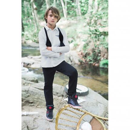 Junior - Effen hemd met lange mouwen en fantasiezakje