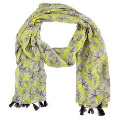 Sjaal met vlinderprint en pompons