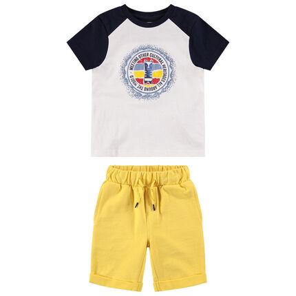 Ensemble van T-shirt in twee kleuren met print en effen gele bermuda
