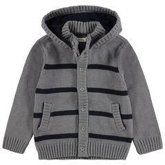 Gilet à capuche en tricot avec rayures contrastées