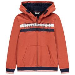 Junior - Vest van molton met kap, sherpavoering en contrasterende banden