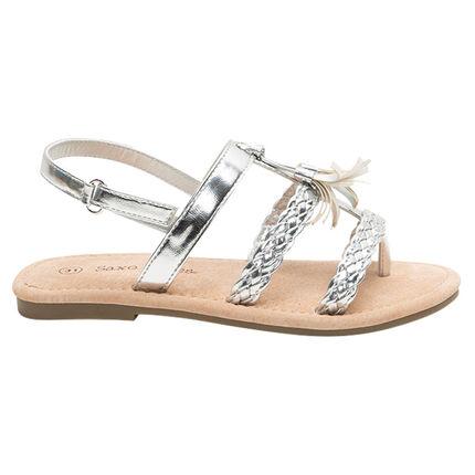 Zilveren sandalen met gevlochten riempjes en pompon