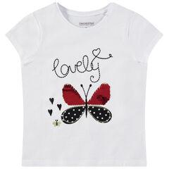 T-shirt manches courtes uni avec papillon à sequins