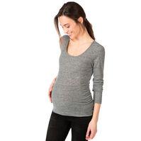 Gechineerd zwangerschaps-T-shirt met lange mouwen en ribrand