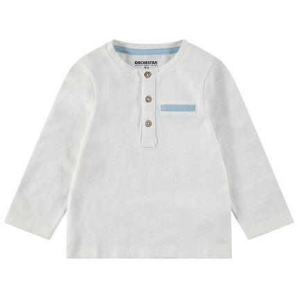 Tee-shirt manches longues en jersey avec col boutonné