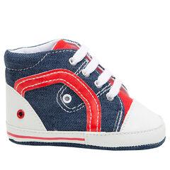 Soepele linnen sneakers met jeanseffect en contrasterende inzetstukken