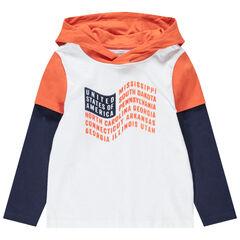 T-shirt met lange mouwen 2-in-1 effect met vlaggenprint