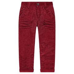 Straight fit broek van geribde velours