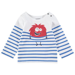 T-shirt in marinierstijl van jerseystof met rode monsterprint