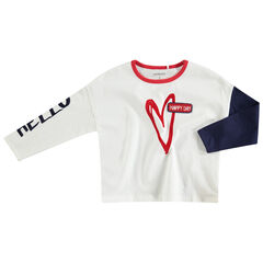 T-shirt met lange mouwen uit jerseystof met print met hartje en badge van bouclé