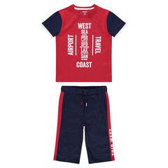 Junior - Ensemble van T-shirt met print van jerseystof en bermuda van molton