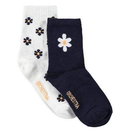 Set met 2 paar matching sokken met bloemen van jacquard