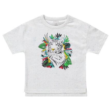 T-shirt met korte mouwen van gebreide stof met oneffen effect en tijgerprint
