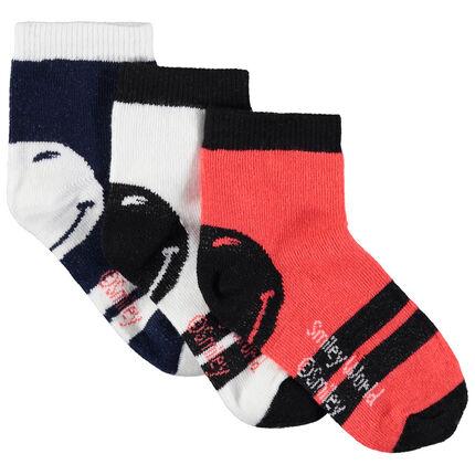 Lot de 3 paires de chaussettes Smiley à bandes contrastées
