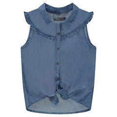 Junior - Chemise manches courtes en Tencel avec pans à nouer
