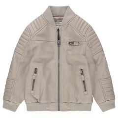 Blouson en simili cuir avec poches zippées et jeux de surpiqûres