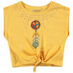 Tee-shirt manches courtes forme boîte avec perles et broderies