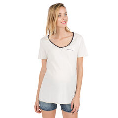 Effen zwangerschaps-T-shirt met badge ter hoogte van de borst