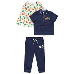 Jogging met T-shirt met print, vest met korte mouwen en broek van molton