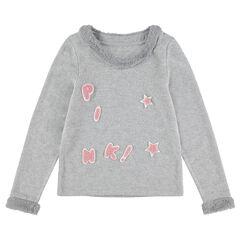 Junior - Trui van gemêleerde tricot met details met namaakbont en opgestikte letters.