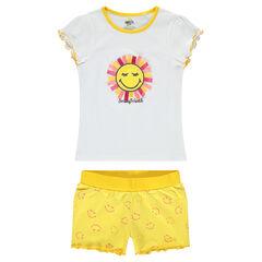 """Pyjama van jerseystof met zon met reliëf en short met ©Smiley-print """"all over"""" onderaan"""