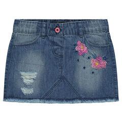 Korte jeansrok met bleach- en used effect en geborduurde bloemen