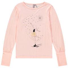 T-shirt manches ballon print danseuse avec tutu en tulle
