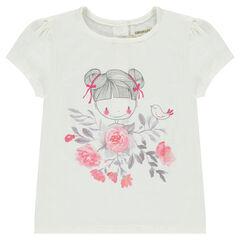 T-shirt met korte mouwen en poppenprint