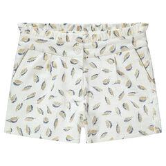 """Junior - Short uit gevlochten katoen met print met gouden veren """"all-over"""""""