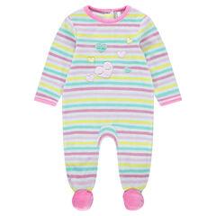 Pyjama van velours met contrasterende strepen en geborduurde harten