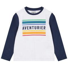 T-shirt manches longues à bandes contrastées et inscription