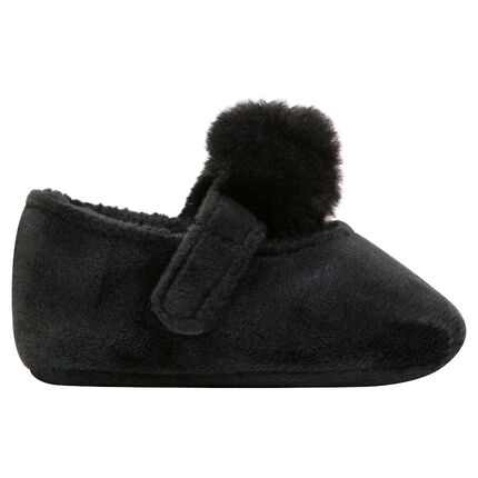 Babies en sherpa all-over avec scratch et pompon