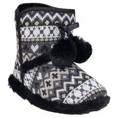 Pantoffels in fantasie tricot met pompons