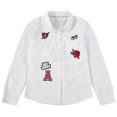 Junior - Chemise manches longues en coton à badges patchés