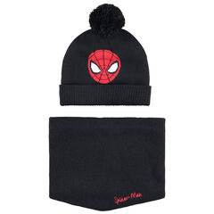 Ensemble bonnet et snood en tricot doublés sherpa motif Spiderman