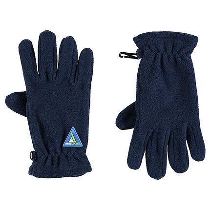 Gants en polaire avec badge en gomme forme triangle