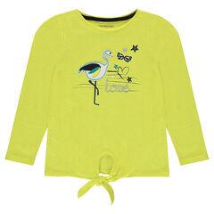 T-shirt dat je vooraan kan vast knopen met lange mouwen en roze, opgestikte flamingo