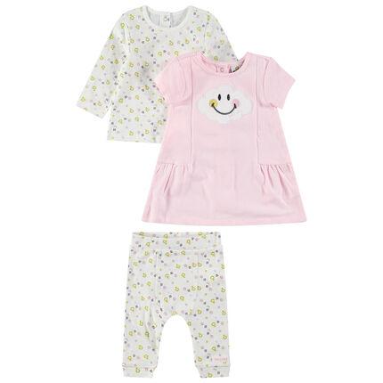 Ensemble van T-shirt met lange mouwen, roze jurk en legging met Smiley-prints