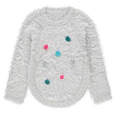Pull en tricot poil avec pompons colorés