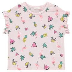 T-shirt met korte mouwen met volants en tropische print