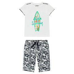 "Ensemble met T-shirt met surfplank en bermuda met bloemen ""all-over"""