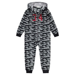 "Junior - Overpyjama van fleece met legermotief ""all-over"""
