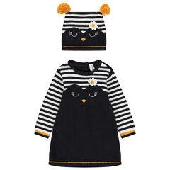 Ensemble avec robe en tricot et bonnet assorti à rayures