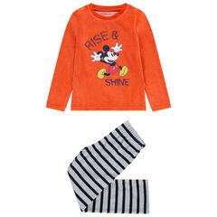 Pyjama en velours print Mickey et bas rayé