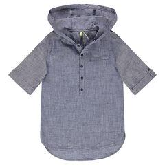 Junior - Hemd met korte mouwen en kap van effen namaakkatoen