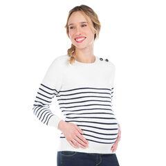 Zwangerschapsmarinière van tricot met streepjes van jacquard