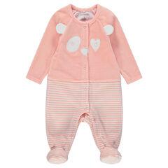 Pyjama van velours met 2-in-1 effect en details met geborduurde panda