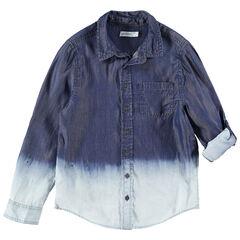 Junior - Hemd met lange mouwen met tie and dye-effect en zakje