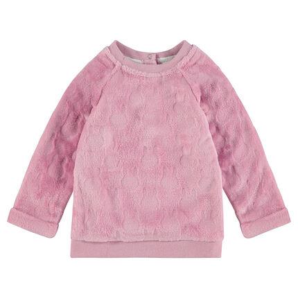 """Fleecesweater met motief in reliëf """"al-over"""""""