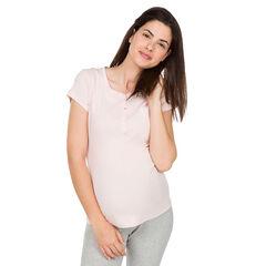 Tee-shirt homewear de grossesse à col tunisien